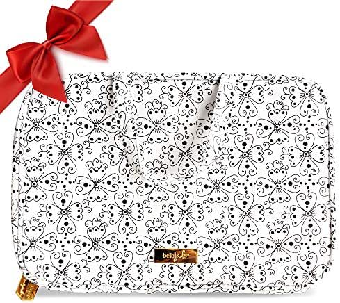 Makeup Travel Bag, Large Portable Cosmetic Case Organizer for Storage of Toiletries and Brushes, Black & White Floral Print