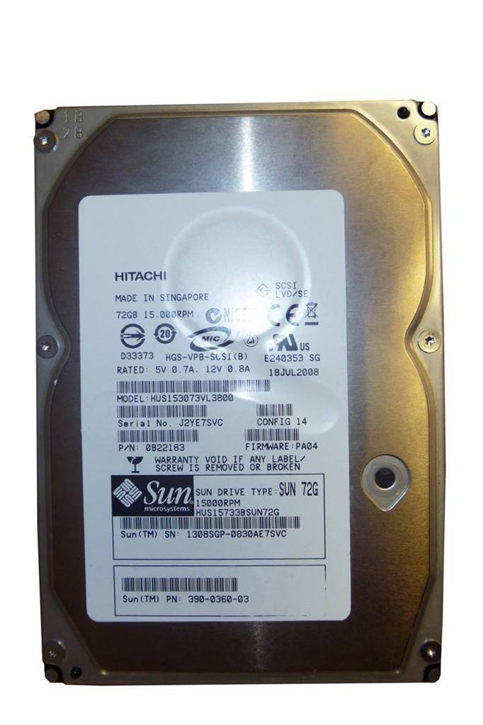 SUN Hitachi 72GB 15K 3.5'' Ultra-320 SCSI Hard Drive HUS15733BSUN72G 390-0360