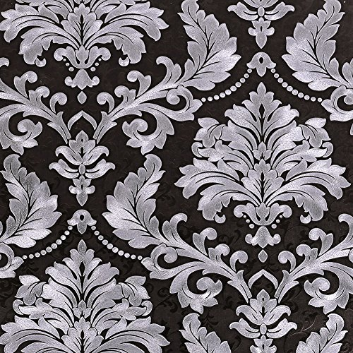 SICOHOME Embossed Texture Damask Wallpaper,Black,11 ()