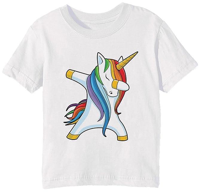 Erido Unicornio taponando - Lenguado Baile Niños Unisexo Niño Niña Camiseta Cuello Redondo Blanco Manga Corta