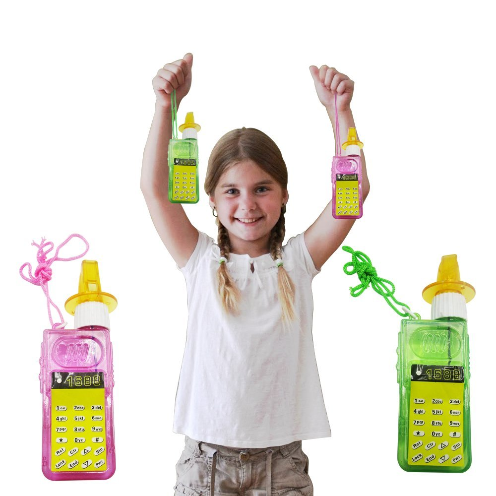 Party Favor Bubbles 3 Pack Whistle and Cellphone Giveaways and Decoration Toy Cubby Cellphone Bubbles Whistle for Kids Multicolor Triple Treat Fun