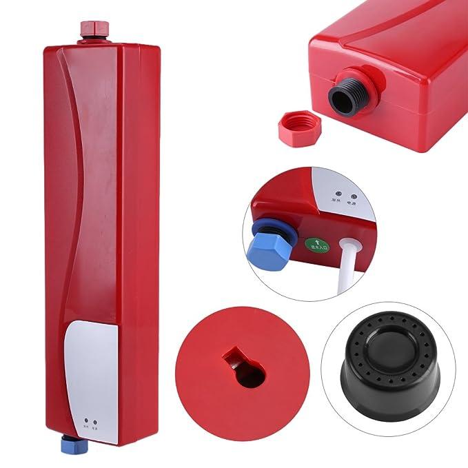 Mini Calentador de Agua Instantáneo Eléctrico sin Tanque con Válvula de Alivio de Presión 220V 3000W para Cocina Baño(Blanco): Amazon.es: Hogar