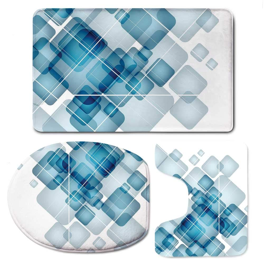 YOLIYANA Abstract Simple Bathroom 3 Piece Mat Set,Blue Colored Squares with Round Edges and Lines Modern Digital Technology Theme Decorative for Living Room,F:20'' W x31 H,O:14'' Wx18 H,U:20'' Wx16 H