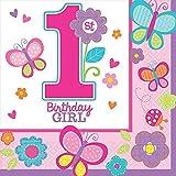 Amscan 1st Sweet Birthday Girl Beverage Napkins 32 Ct