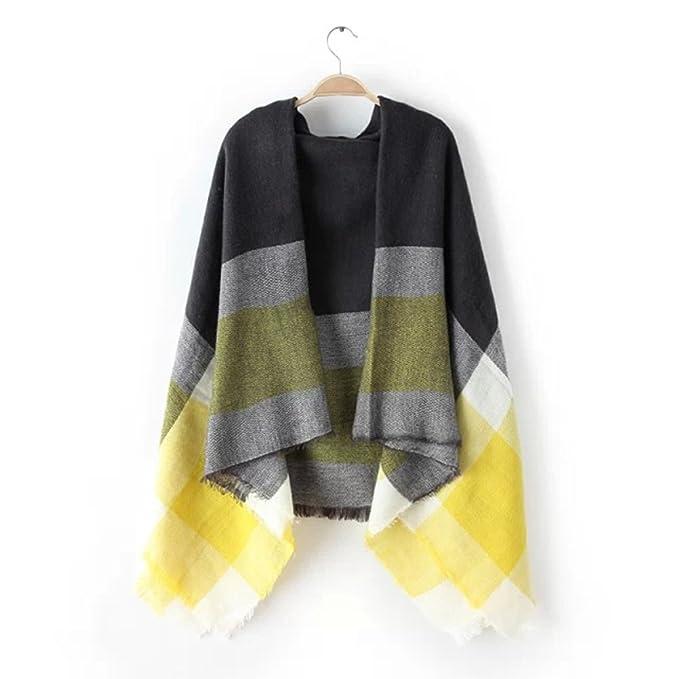 b00be2b62c Tuopuda® Bufandas Mujer Cuadros de Enormes Grid Otoño Invierno Cálido Suave  Bufanda Square (amarillo