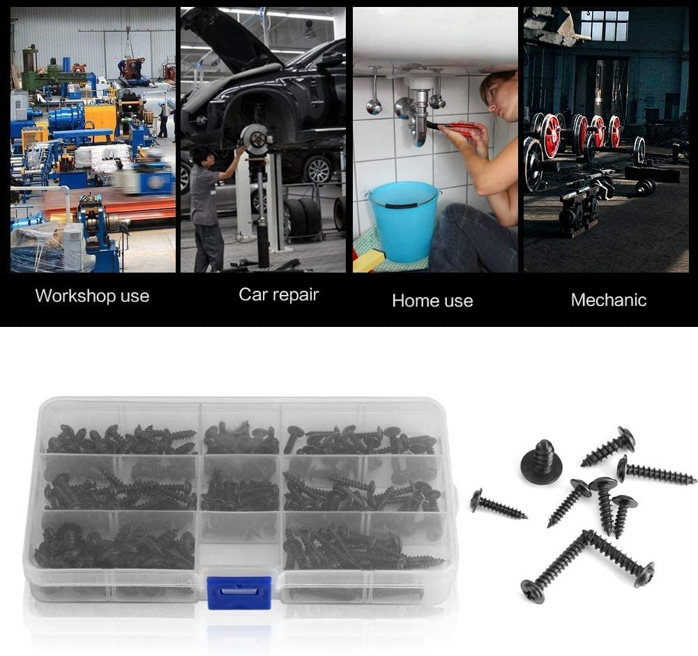 200Pcs Stainless Steel Round Head Self Drilling Screws Accessories Set Self-tapping Screws