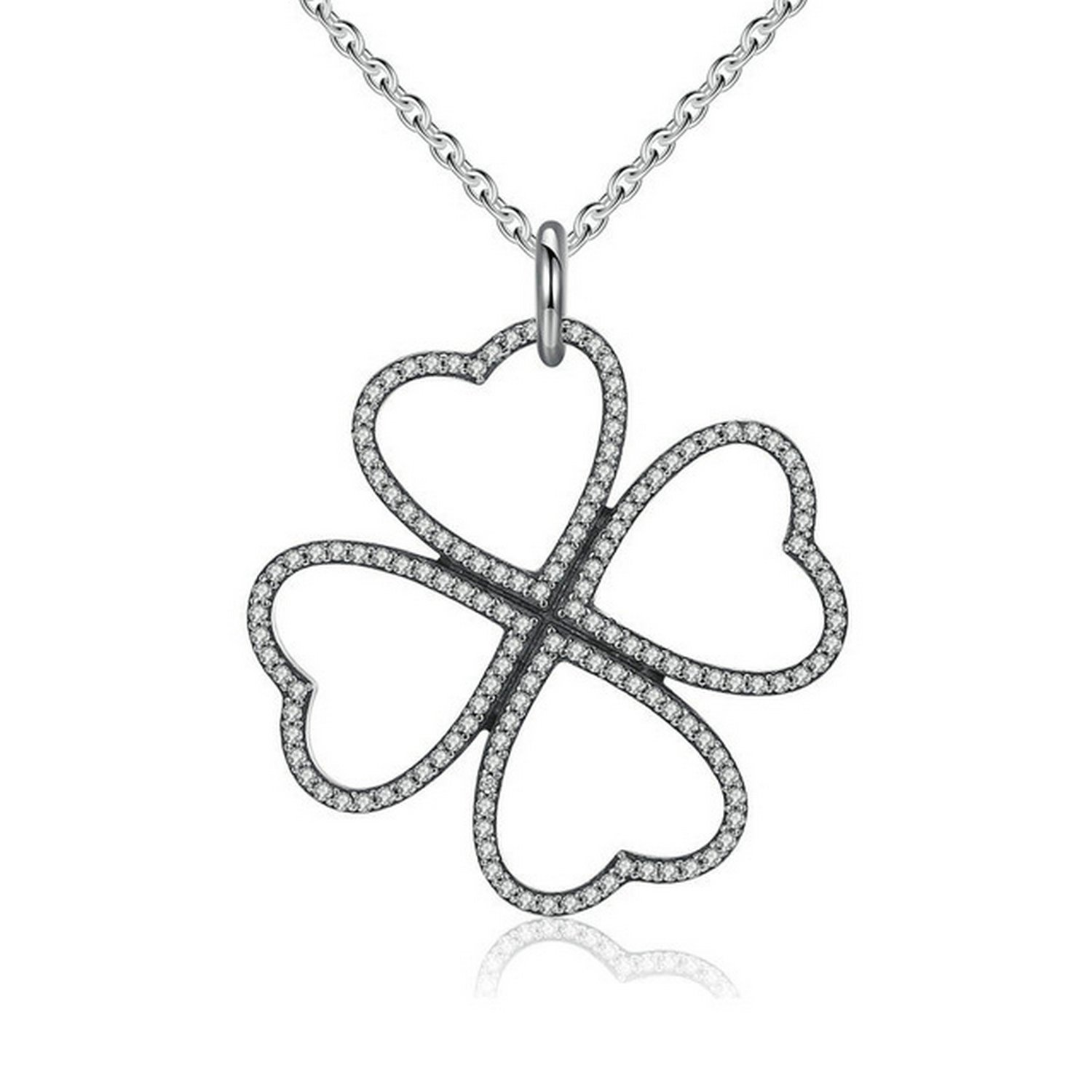 CS-DB Jewelry Silver Petals of Love Clear CZ Chain Charm Pendants Necklaces