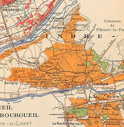 LOIRE VINEYARD MAP St Nicholas Bourgueil Chinon Montlouis Jasnières LARMAT 1946