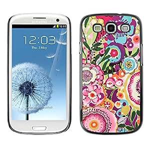X-ray Impreso colorido protector duro espalda Funda piel de Shell para SAMSUNG Galaxy S3 III / i9300 / i747 - Floral Pink Pattern Girly