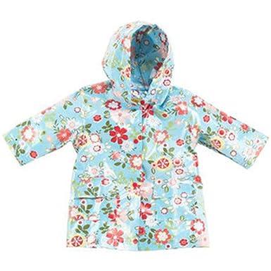 c41b56c4a Amazon.com: Pluie Pluie Little Girls Blue Floral Lined Raincoat ...