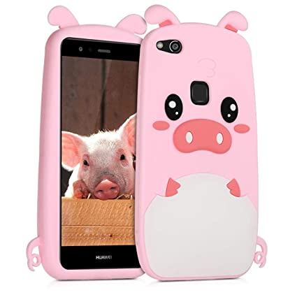 kwmobile Pig Silicone Case for Huawei P10 Lite - Soft Silicone Gel Protective Cover with Cute Design