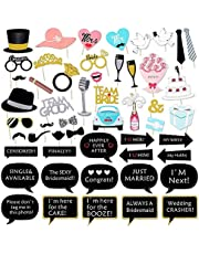 Fun Wedding Photo Booth Props DIY Kits Glitter Mr and Mrs Team Bride Team Groom Wedding Party Bridal Shower Decorations