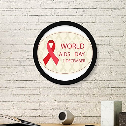 (Solidarity Symbol 1st December World AIDS Day HIV Awareness Red Ribbon Round Simple Picture Frame Art Prints of Paintings Home Wall)