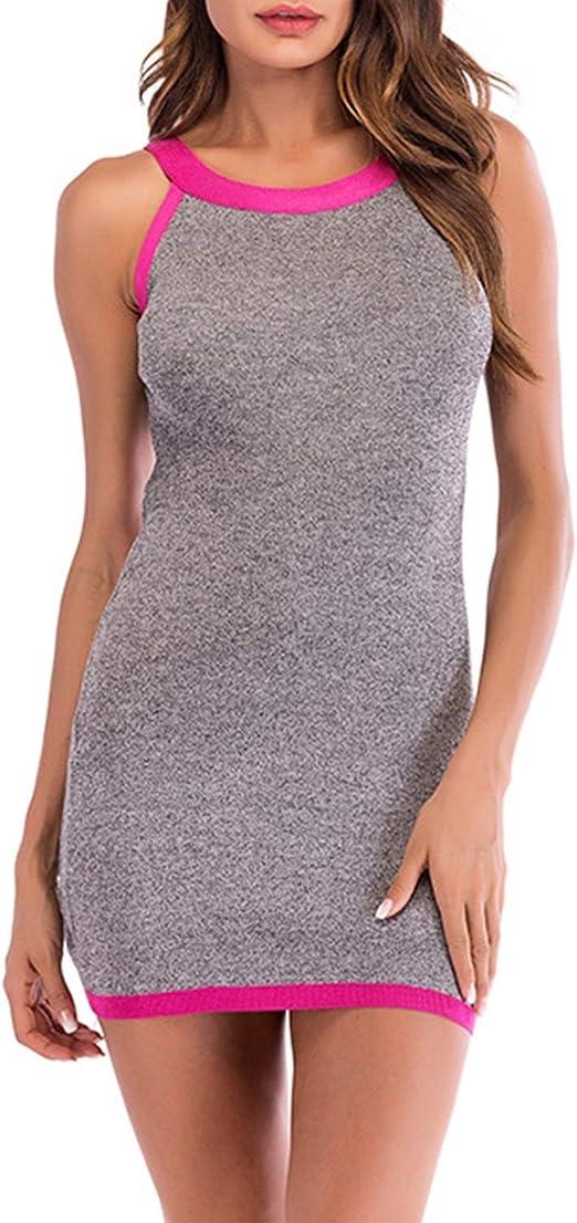 HEYG-Dress Vestir Moda Casual Minifalda sin Espalda con Contraste ...