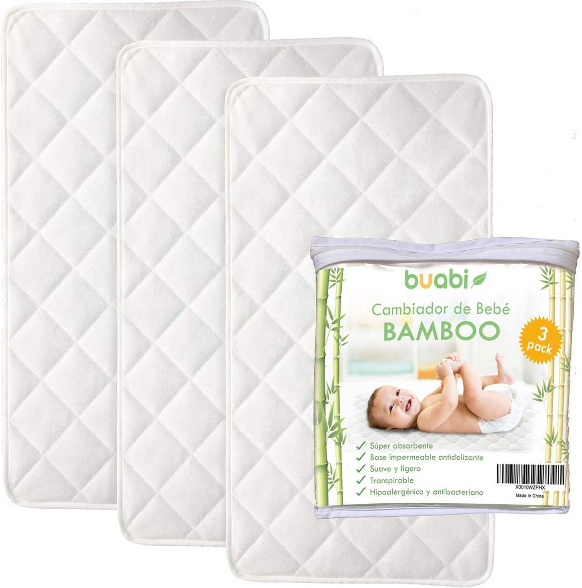 BUABI Cambiador Bebé Portátil, pack de 3 cambiadores de viaje. Bambú Hipoalergénico, antibacteriano y transpirable, con base impermeable antidelizante