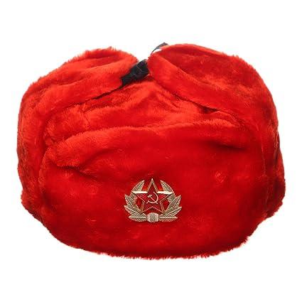 danila-souvenirs Russian USSR Winter Red Fur Ushanka Hat + Soviet Red Star  Badge 24cb2091d971