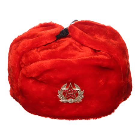danila-souvenirs Russian USSR Winter Red Fur Ushanka Hat + Soviet Red Star  Badge d12be08f17e3