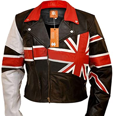 6b3855d975b3 Men s Black Vintage Cafe Racer Jacket with Great Britain Flag Leather Jacket  for Sale On Amazon