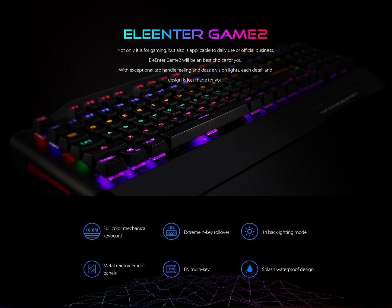 Teclado mecánico, Ele eleenter Game2 RGB 104 teclas retroiluminado, teclados para juegos, aleación de aluminio + plástico resistente al agua Vídeo Juego ...
