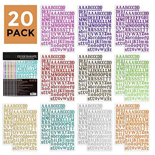 Nicpro Alphabet Letter Stickers 1780 PCS 10 Colors Self Adhesive Sticker Sheets for DIY Scrapbook Birthday Card Craft