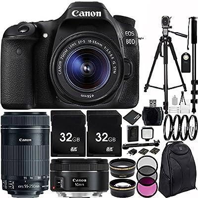 Canon EOS 80D DSLR cámara Triple Lente Bundle con 18-55 mm f/3,5-5 ...