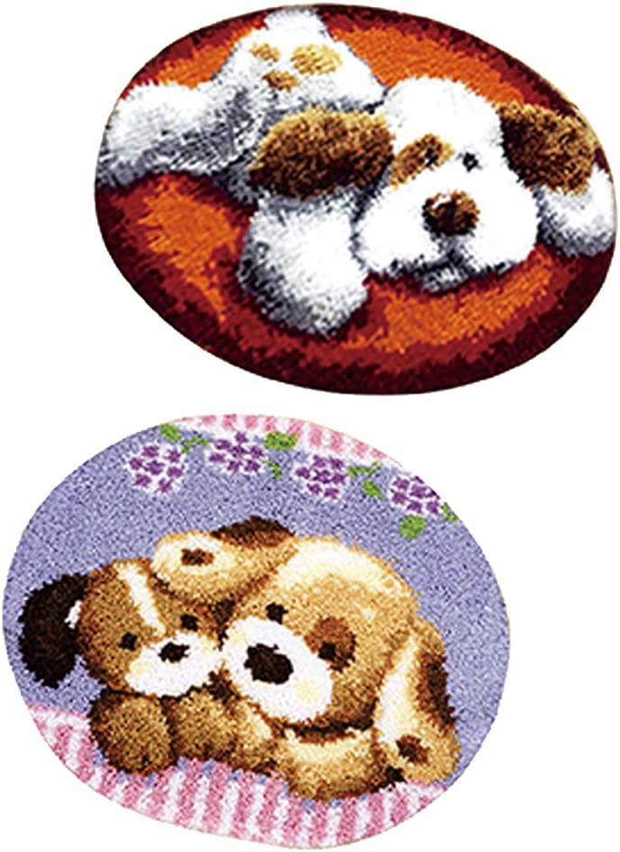 LoveinDIY 2-Packs DIY Latch Hook Kit Rug Making Crafts for Kids//Adults 20 inch X 20 inch Cartoon Puppy Dogs