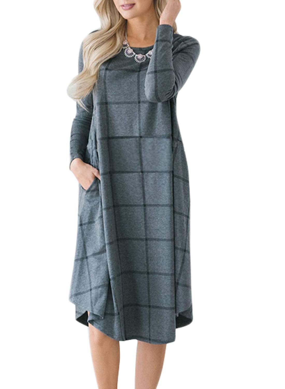 HOTEPEI Women Vintage 50s Style Long Sleeve Pleated Plaid Pocket Swing Casual Midi Dress Gray Checked Medium