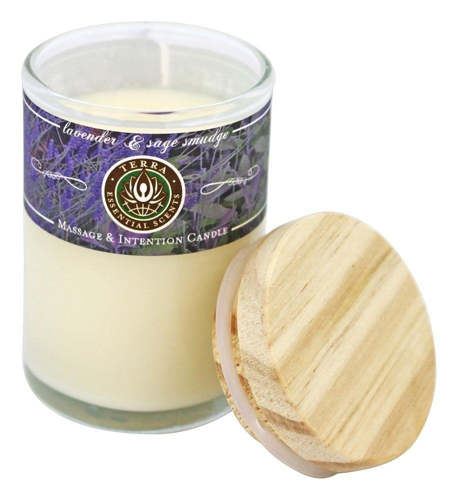 Terra Essential Scents - Massage & Intention Soy Candle Lavender & Sage Smudge - 2.5 oz.