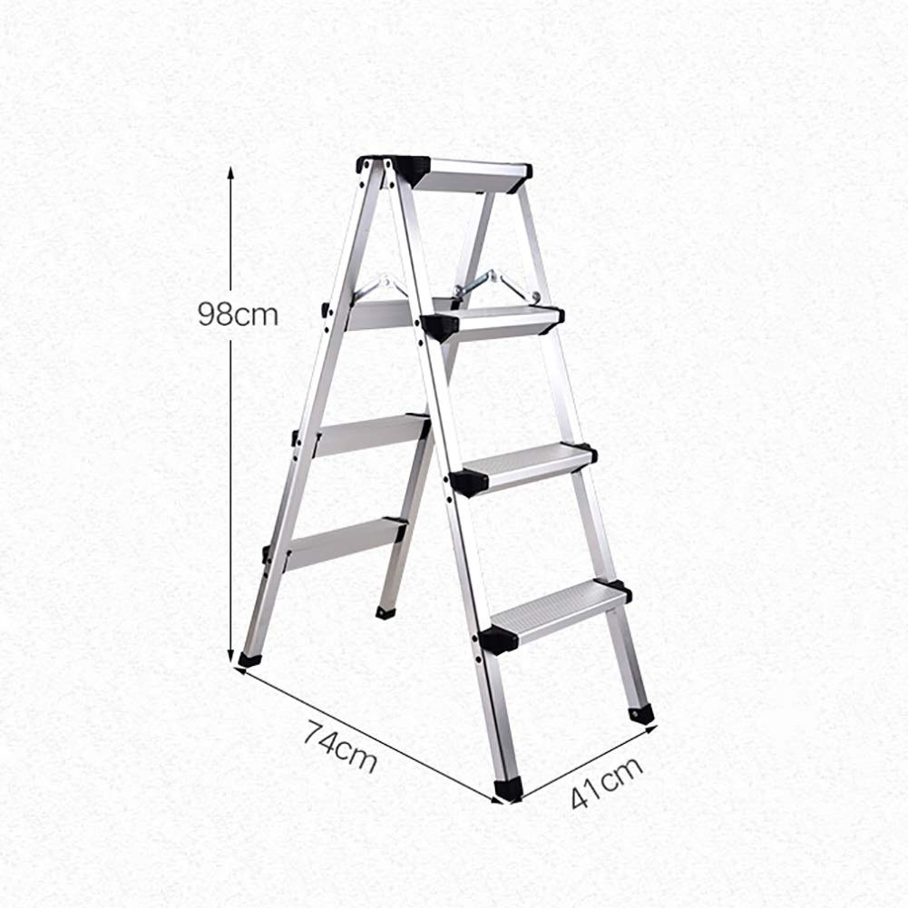 4 Steps PLLP Household Step Stool, Photography Folding Step Stool, Step Stools Folding Step Stool for Adult Seniors, Kitchen Office Stepladders for 330 Capacity, Ivory White Full Size Step Stool with Wide Pe