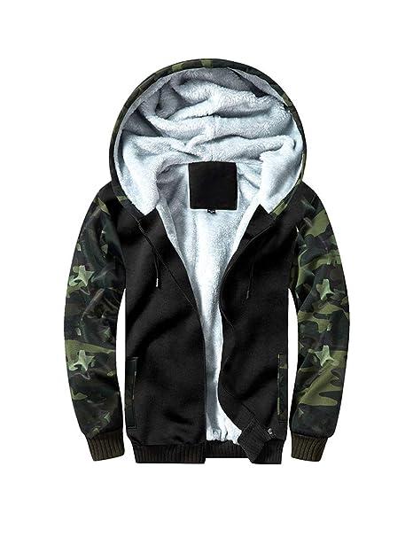 349561839ef MANLUODANNI Men s Fleece Hoodie Winter Jackets Zipper Hooded Sweatshirt  Outwear Thick Warm Coats ArmyGreen S