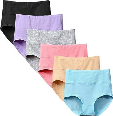 Yintry Ropa Interior para Mujer Braguitas de Cintura Alta Bragas de algodón elástico Pantalones de Control de Barriga Paquete de 6: Amazon.es: Ropa y accesorios