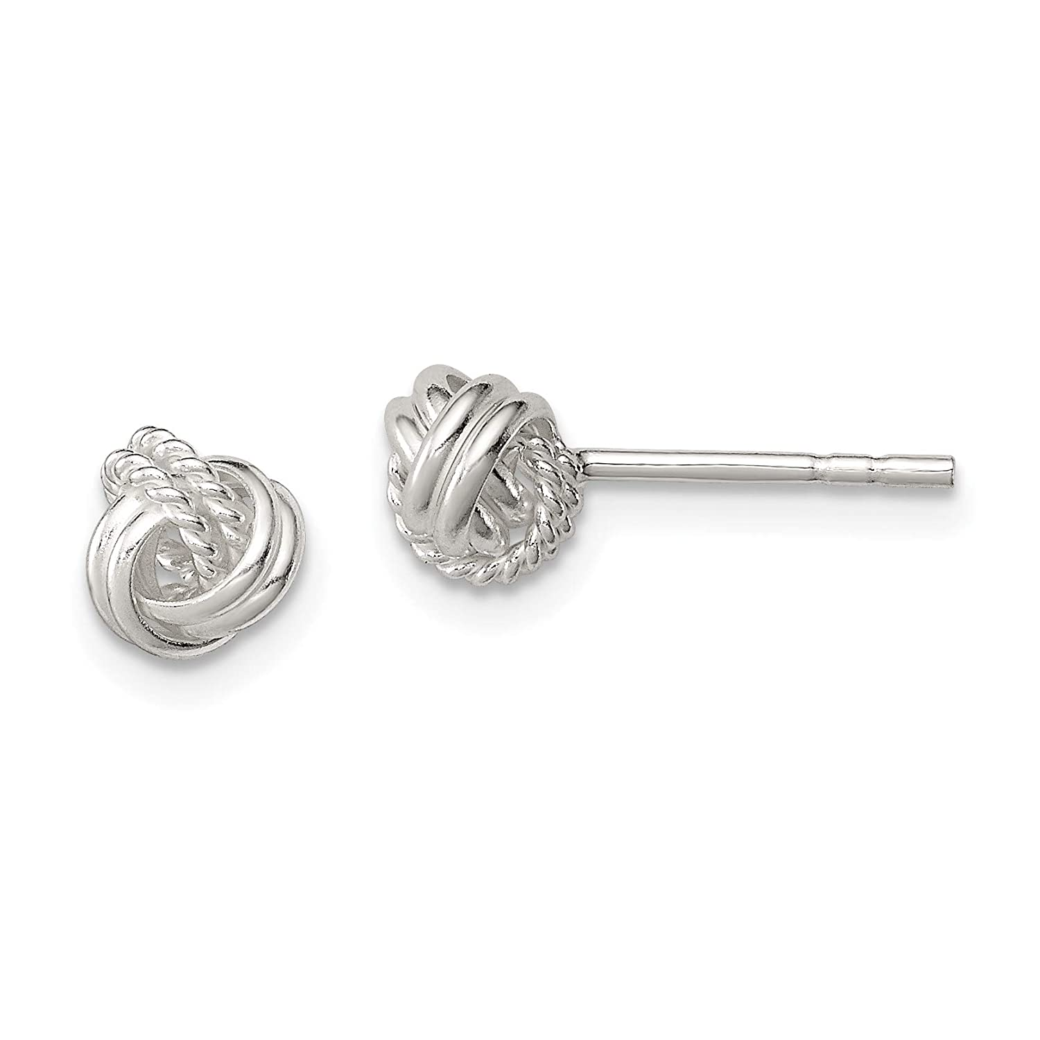 Approximate Measurements 7mm x 7mm Sterling Silver Polished and Textured Fancy Post Earrings