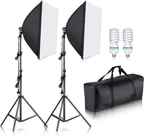 Neewer 700W Pro Fotografía Kit de Iluminación de Luz Softbox – 2 Packs 60×60 centímetros Softbox con Zócalo E27 para Retratos de Estudio Fotográfico, Fotos de Productos y Videos: Amazon.es: Electrónica
