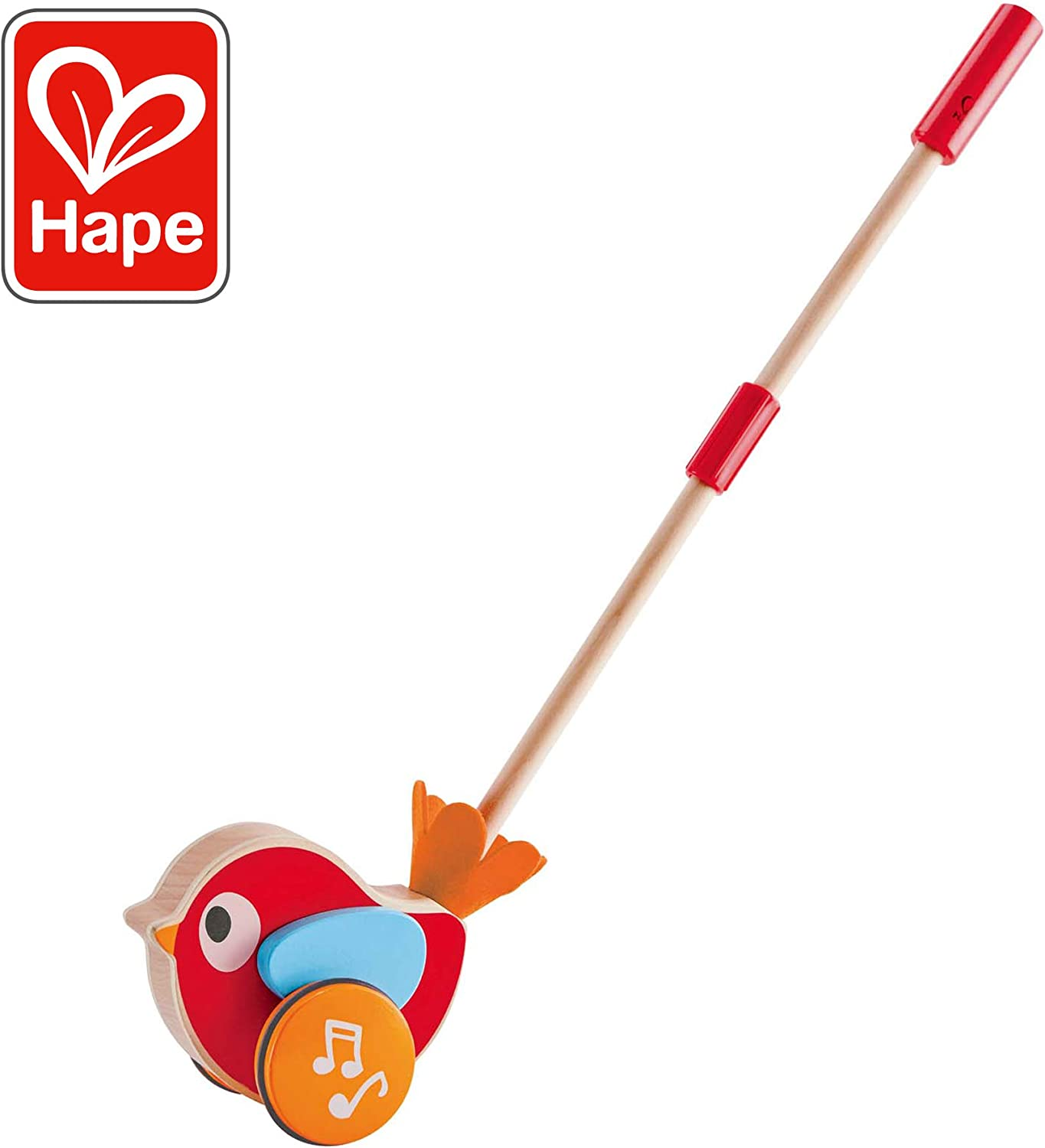 Hape Lilly Musical Push Along   Wooden Push Along Baby Walking Bird, Playful Kids Toy with Detachable Stick