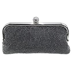 DMIX Womens Evening Bag with Crystal Clutch Gold