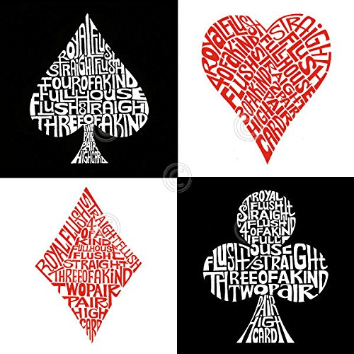 Poker Hands L.A. Pop Art Typography Text Cards Gambling Game Poster Choose Size of