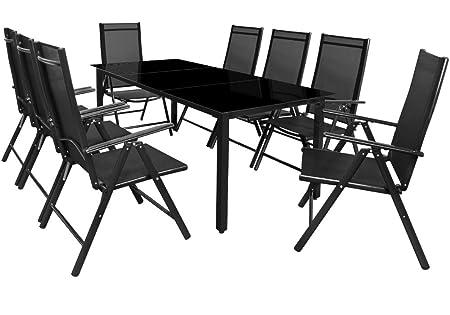 Deuba | Salon de Jardin 8+1 Bern • 1 Table, 8 chaises • Noir - Aluminium  avec Table en Verre • dossiers Hauts inclinables | Ensemble de Jardin, ...