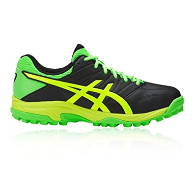 750a14a5f ASICS Men s Black Green Gecko Safety Yello Field Hockey Shoes-12 UK ...