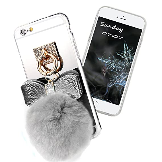 save off 06ed2 afb8e Premium Puff Ball Pom Pom Phone Case with Bownot Plush Fur Ball,Soft TPU  Gel Back Case Cover for iPhone 6 Plus/6s Plus 5.5