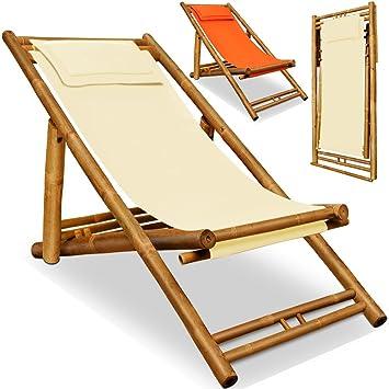 chaise longue transat bambou jardin plage terrasse repose tte inclus crme - Chaise Longue Transat
