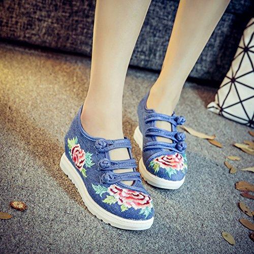Mujer Alpargatas Jane Para Insun Bordado Para Mujer Zapatos Azul Mary Diseño qHUyHpA1C