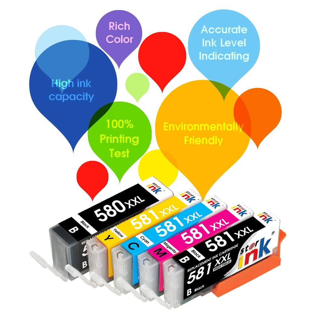 1PGBK, 1Black, 1Cyan, 1Magenta, 1Yellow Starink Compatible Canon PGI-580XXL CLI-581XXL Ink Cartridges Work with Canon Pixma TR7550 TR8550 TS6150 TS6151 TS8150 TS8151 TS8152 TS9150 TS9155 5 Pack