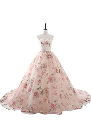 Amazon sunvary print flower princess ball gown dance prom sunvary print flower princess ball gown dance prom quinceanera dresses size 2 pink mightylinksfo