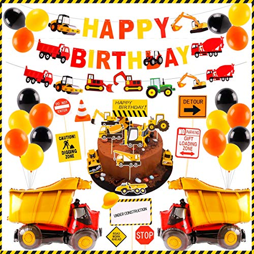 Construction Birthday Supplies Boys Party - Construction Balloons, HAPPY BIRTHDAY and Construction Paper Banner, Construction Signs for Kids Construction Birthday, Dump Truck Decorations Party, Boys Birthday -