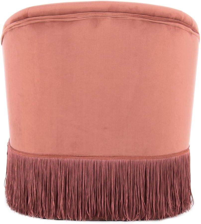 One Couture Poltrona Bambini Seggiolone Poltrona Imbottita Velluto Frangia Altezza Seduta 29 cm Rosa Antico Rosa