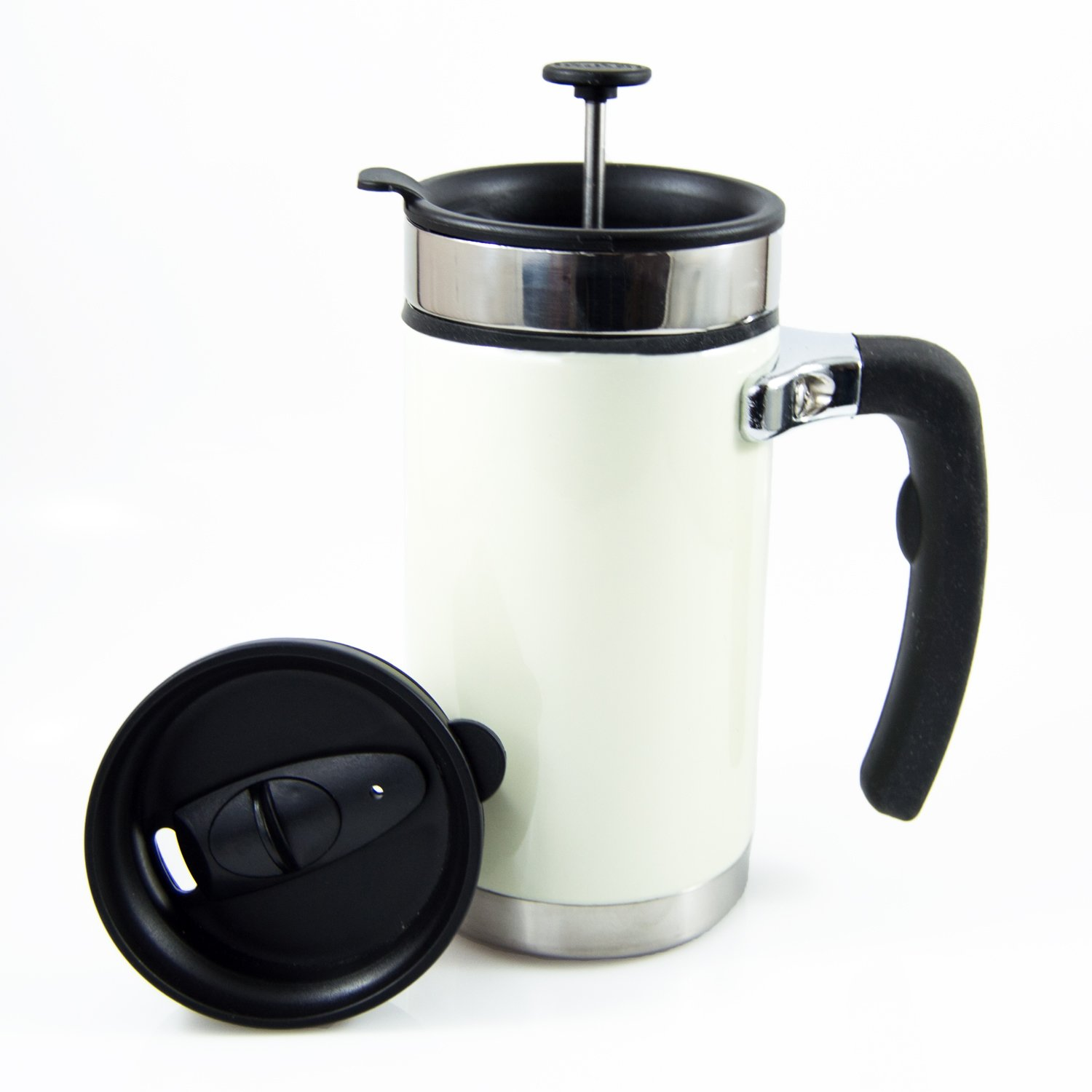 Desk Press Coffee Travel Mug - French Press with Brü-Stop Technology - 2 Spill Proof Lids - 20oz - Pearl