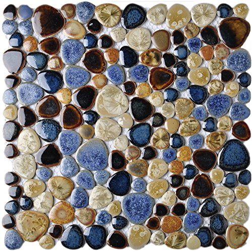 Glazed Blue Mosaic Ceramic Pebble Porcelain Tile Swimming Pool Bath Shower Wall Flooring Tile TSTGPT001 (11 Square Feet) by TST MOSAIC TILES