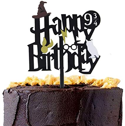 Image Unavailable Not Available For Color CaJaCa Glitter Black Harry Potter Inspired Happy Birthday Cake