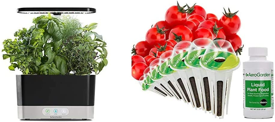 AeroGarden Black Harvest Indoor Hydroponic Garden, 2019 Model & Red Heirloom Cherry Tomato Seed Pod Kit