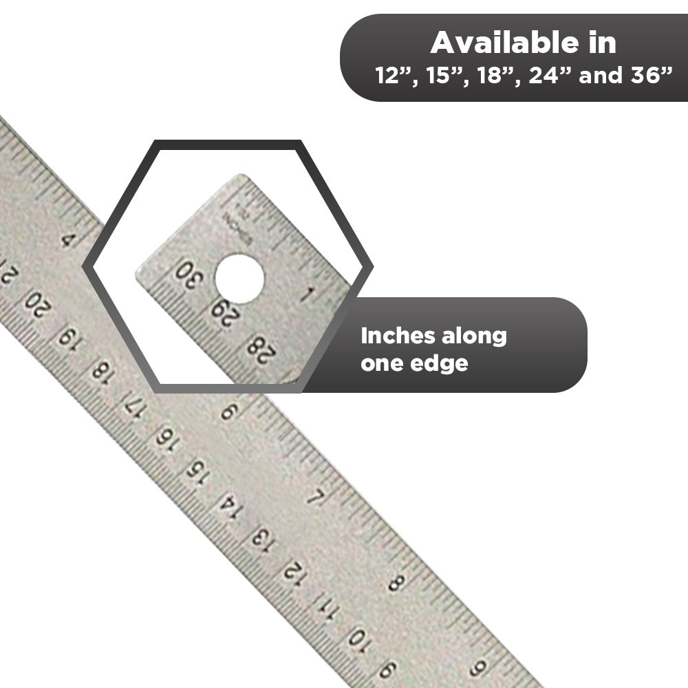 24 inch Stainless Steel Metal Ruler 2 Pack- 24 inch High Grade Flexible Stainless Steel Ruler with Non Slip Cork Base for Excellent Precision and Accuracy (2 Pack) by Breman Precision (Image #3)